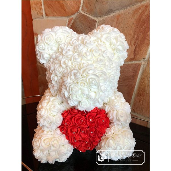 Biały Miś z róż dla dziewczyny
