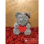 Miś z Różyczek z Czerwonym Sercem – Szary 40 cm (BOX + Płatki RÓŻ)