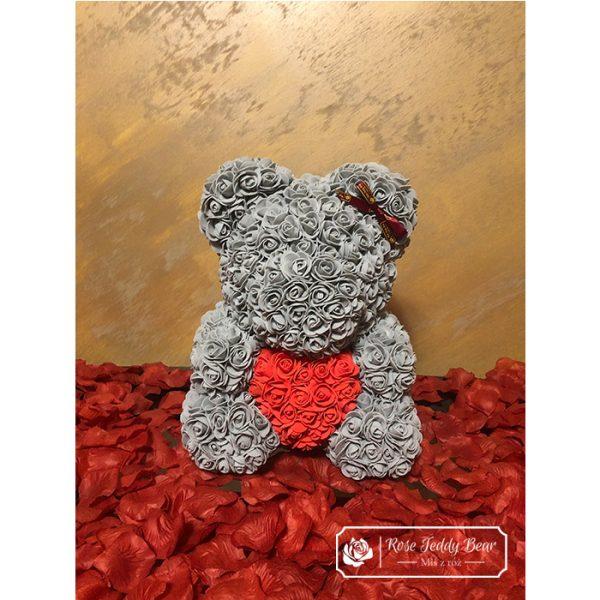 Miś z Różyczek 40 cm z + box + płatki róż