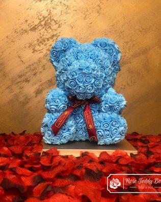 Niebieski Miś z Róż 40 cm (GiftBox + PŁATKI RÓŻ)