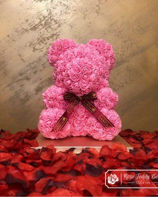 Różowy Miś z Róż 40 cm (GiftBox + PŁATKI RÓŻ)