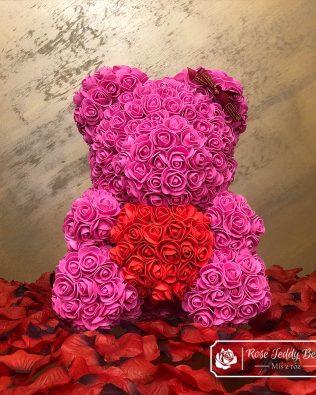 Różowy Miś z Róż (Box + Płatki Róż)