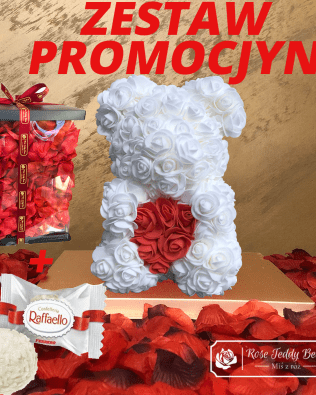 Miś z Różyczek z Serduszkiem – Biały 25 cm GiftBox + Płatki Róż + Rafaello – ZESTAW