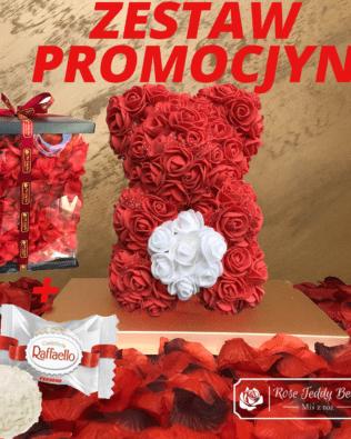 Miś z Różyczek z Serduszkiem – Czerwony 25 cm GiftBox + Płatki Róż + Rafaello – ZESTAW