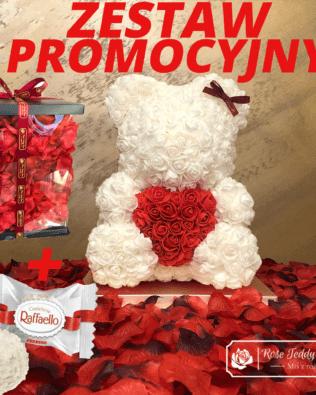 Biały Miś z Róż z Serduszkiem – 40 cm Box + Płatki Róż + Pralinki LINDOR – CENA ZA ZESTAW
