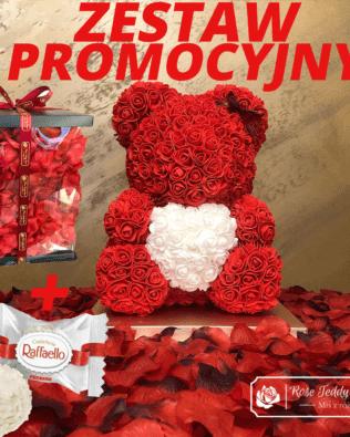 Czerwony Miś z Róż z Serduszkiem – 40 cm Box + Płatki Róż + Pralinki LINDOR- CENA ZA ZESTAW